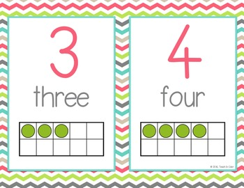 Number Posters 0-20 - Country Cool - Ten Frames - Teal, Green, Coral, Gray, Tan