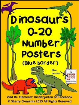 Dinosaurs Number Posters 0-20 (Blue Border)