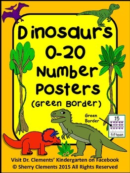Dinosaurs Number Posters 0-20 (Green Border)