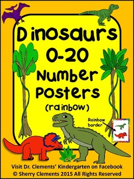 Dinosaurs Number Posters 0-20 - (rainbow border)