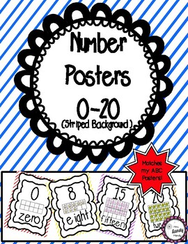 Number Posters 0-20 (Striped Background)