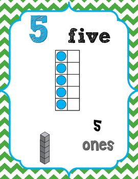 Number Posters 0-20 {Green Chevron} w/ Ten Frame, Base Ten (CCSS aligned)