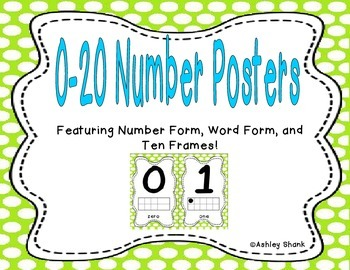 Number Posters 0-20 - Green Polka Dots