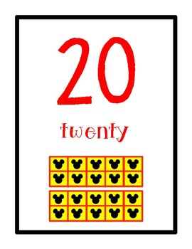 Number Posters 0-20 Mickey Mouse Themed