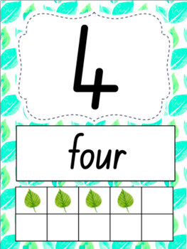 Number Posters 0-20-  Nature/Tropical Theme