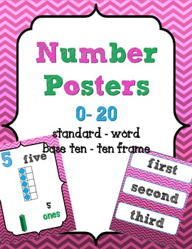 Number Posters 0-20 {Ombre Chevron} w/ Ten Frame, Base Ten