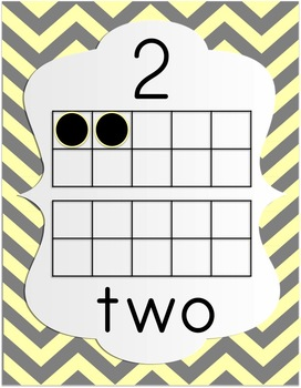 Number Posters 0-20 - Pastel & Gray Chevron