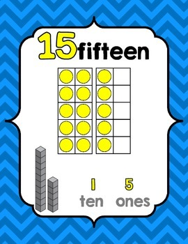 Number Posters 0-20 {Primary Colors} w/ Ten Frame, Base Ten (CCSS aligned)