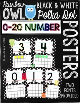 Number Posters 0-20 - Rainbow Owl with Black & White Polka Dots