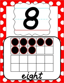 Number Posters 0-20 - Red & White Polka Dot - D'Nealian Manuscript
