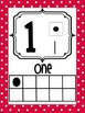 Number Posters 0-20 Red and Teal Polka Dots