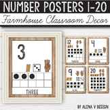 Number Posters 0-20 - Rustic Classroom Decor - Farmhouse C