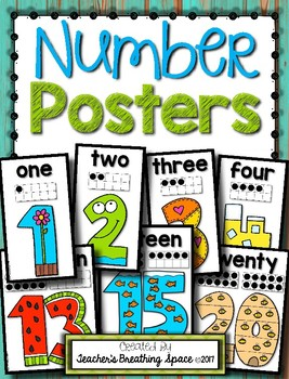 Simple Number Posters 0-20 --- Simple, Bright Number Posters with Tens Frames
