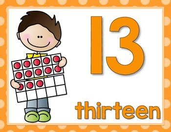 Number Posters 0-20  Stick Kids w/10 Frames {Bright Polka Dots}