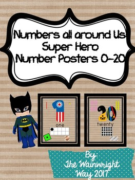 Number Posters 0-20 Superhero Themed