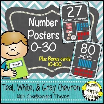 Number Posters 0-30:  Plus Bonus Cards 10-100 ~ Teal and Chalkboard Theme