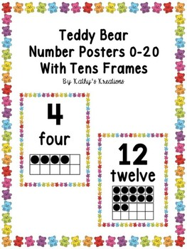 Number Posters 0-20 Teddy Bear