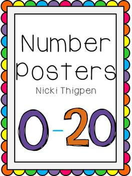 Number Posters 0-20 (Ten Frames/Bright)