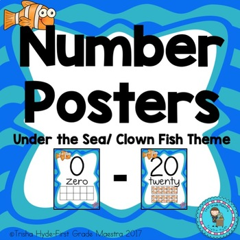 Number Posters 0-20 Under the Sea Clown Fish Theme Number Cards
