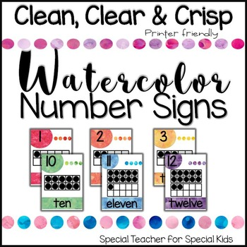 Number Posters (0-20) Watercolor Theme