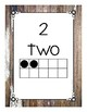 Number Posters 0-20 Weathered Wood Theme