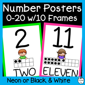 Number Posters 0-20 with 10 Frames ~ Bright Colors ~ PK-1st