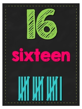 Number Posters 0-20 (With Tally Marks) ~ Chalkboard & Bright