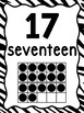 Number Posters 0-20 With Ten Frames Zebra Theme