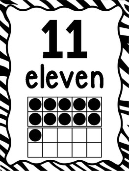 Number Posters 0-20 With Ten Frames Zebra