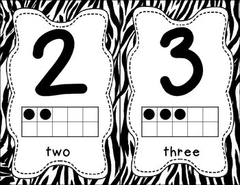 Number Posters 0-20 - Zebra Print