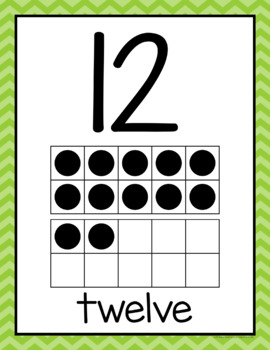 Number Posters (0-20) in Primary Chevron