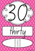 Number Posters 0-20 plus decades 30-100 NSW Font - Rainbow Spotty