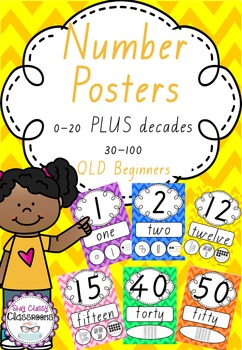 Number Posters 0-20 plus decades 30-100 QLD Font - Rainbow