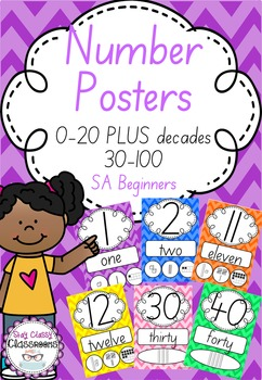 Number Posters 0-20 plus decades 30-100 SA Beginners - Rainbow Chevron