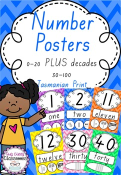 Number Posters 0-20 plus decades 30-100 Tasmanian Print -