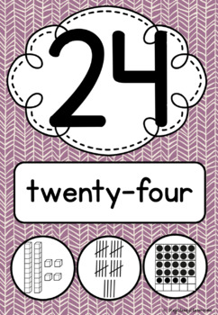 Number Posters 0-30 plus decades 40-100 Tribal Boho