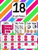 Number Posters 0-20 and Counting by 5s and 10s to 100 with Striped Background