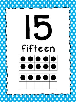 Number Posters 0-20 with Ten Frames