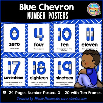 Number Posters 0 - 20 with Ten Frames - BLUE Chevron Theme