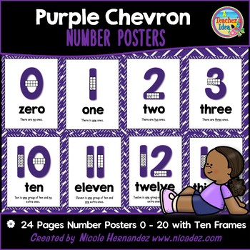 Number Posters 0 - 20 with Ten Frames - PURPLE Chevron Theme