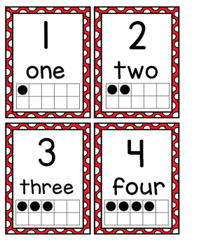 Number Posters 0-20 with Ten Frames and Flash Cards---Bright Red Polka Dots