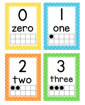 Number Posters 0-20 with Ten Frames and Flash Cards (Polka Dots)