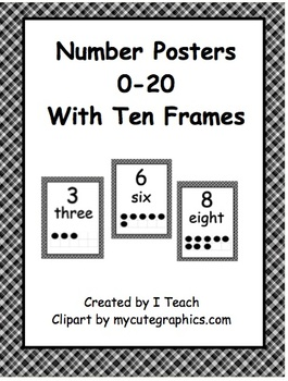 Number Posters 0-20 with Ten Frames in Black Plaid in English & Spanish-Bundle