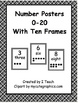 Number Posters 0-20 with Ten Frames in Black Plaid in Engl
