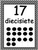 Number Posters 0-20 with Ten Frames in Black Plaid in Spanish
