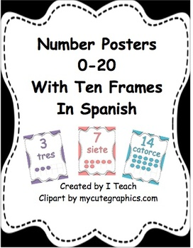 Number Posters 0-20 with Ten Frames in English & Spanish- Bundle Pack
