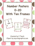 Number Posters 0-20 with Ten Frames in Polka Dots in English & Spanish- Bundle