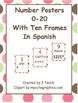 Number Posters 0-20 with Ten Frames in Polka Dots in Engli