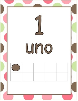 Number Posters 0-20 with Ten Frames in Polka Dots in Spanish