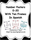 Number Posters 0-20 with Ten Frames in Spanish